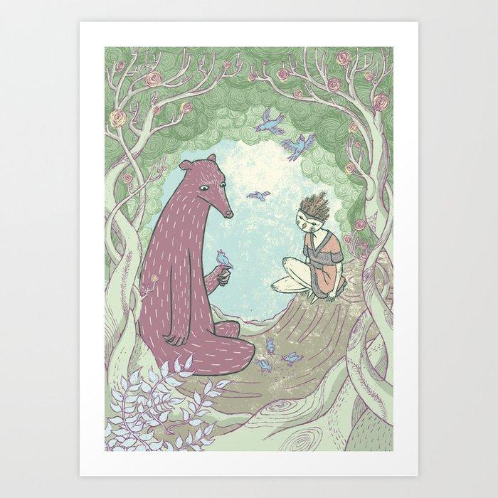 Bear and Bird Art Print