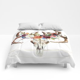Geometric tribal floral bull skull Comforters