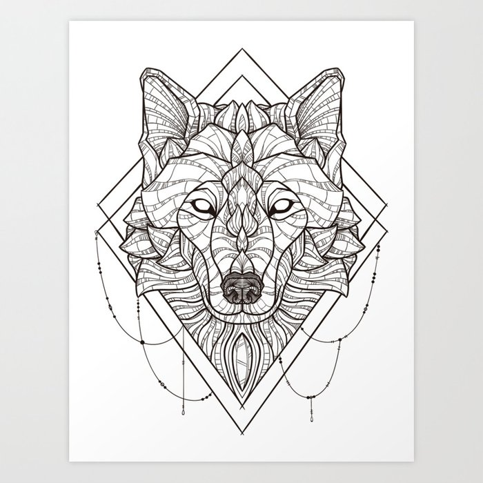 Geometric Wolf Art Print by psydrian | Society6