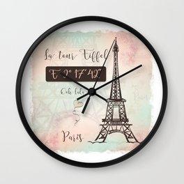 Coordinates Paris Wall Clock