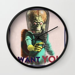 Mars Attacks Want YOU Wall Clock