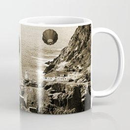 Flying Hot air Balloons over Newfoundland Monochrome Sepia color Coffee Mug