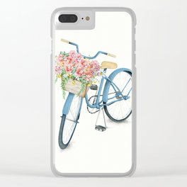 Blue Bicycle with Flowers in Basket Clear iPhone Case