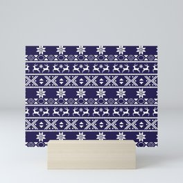 Fair Isle Blue  #Christmas Mini Art Print