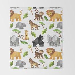 Safari Animals Pattern Watercolor Throw Blanket