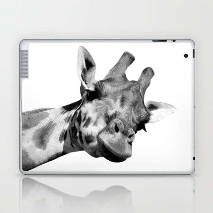 Black and white giraffe Laptop & iPad Skin