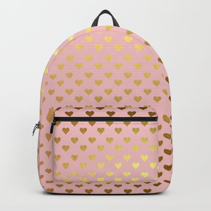 Gold and pink sparkling and shiny Hearts pattern Backpack