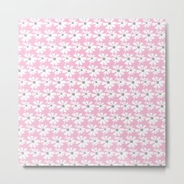 Daisies In The Summer Breeze - Pink Grey White Metal Print