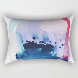 PYT: a minimal abstract mixed media piece on canvas in blues, pink, purple, and white Rectangular Pillow