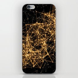 Shiny golden dots connected lines on black iPhone Skin