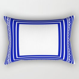 Blue and White Lines Geometric Abstract Pattern Rectangular Pillow