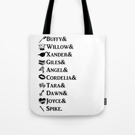 Buffy the Vampire Slayer Names Tote Bag