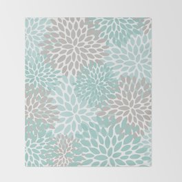 Floral Pattern, Teal, Aqua, Turquoise,Gray Throw Blanket
