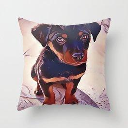 Rottweiler Puppy Born To Be Wild Throw Pillow
