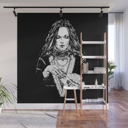 Smoker Lady. In Black Silk. Yury Fadeev Wall Mural