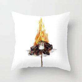 Campfire, Smore, Marshmallow Roasting, Camping Throw Pillow