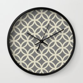 Ring Overlap - beige on gray Wall Clock