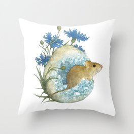 Field Mouse and Celestite Geode Throw Pillow
