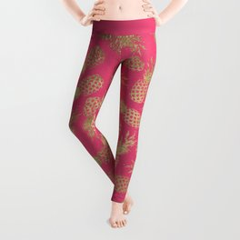 Tropical neon pink faux gold pineapple fruit pattern Leggings