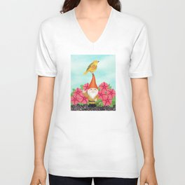 gnome with yellow warbler and petunias Unisex V-Neck