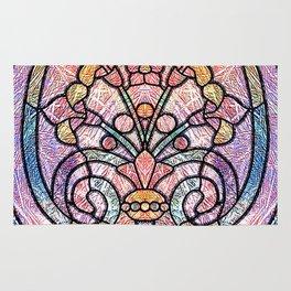 Pastel Orange, Blue and Purple Art Nouveau Stain Glass Art Rug