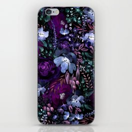 Deep Floral Chaos blue & violet iPhone Skin