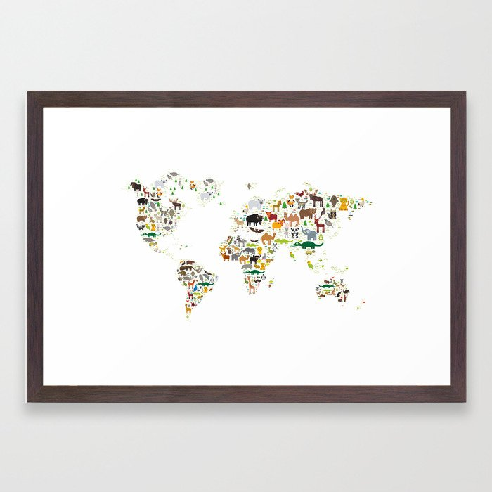 Cartoon animal world map for children and kids animals from all cartoon animal world map for children and kids animals from all over the world on white background framed art print by ekaterinap society6 gumiabroncs Choice Image