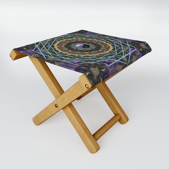 Purple Yin Yang Sacred Geometry Fractals Folding Stool