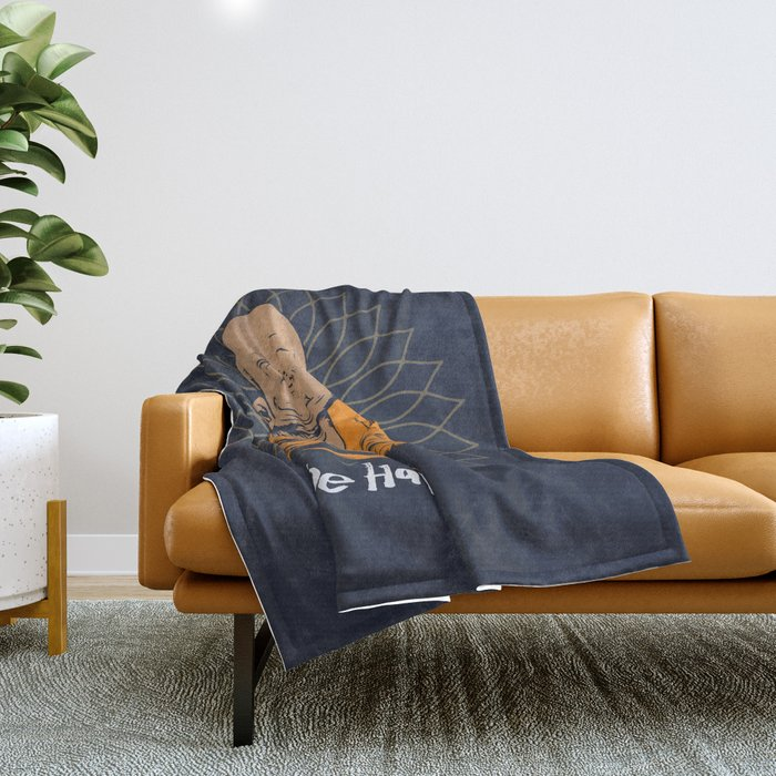 Be Happy Little Buddha Throw Blanket