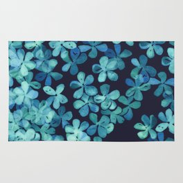 Hand Painted Floral Pattern in Teal & Navy Blue Rug