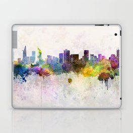 Ho Chi Minh skyline in watercolor background Laptop & iPad Skin