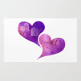 Purple and Pink hearts Rug