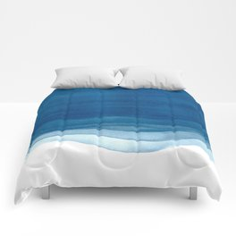 Watercolor blue waves Comforters