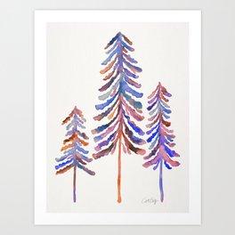 Pine Trees – 90s Color Palette Art Print