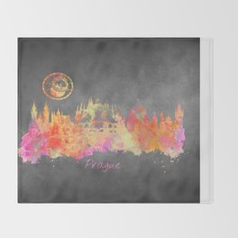 Prague skyline city Throw Blanket