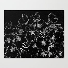 FLOWERS AT MIDNIGHT - IN BLACK & WHITE Canvas Print