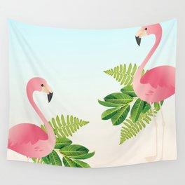 Tropical Flamingos Wall Tapestry