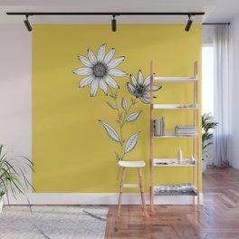 Wildflower line drawing | Botanical Art Wall Mural