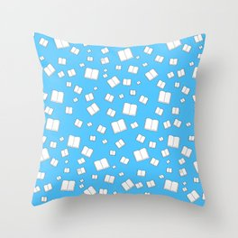 Blue Flying Books Pattern Throw Pillow