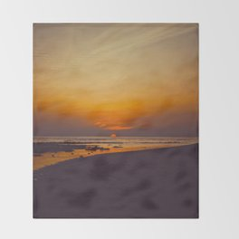 Vintage Sepia Orange Rustic Sunset Over The Ocean Throw Blanket