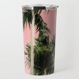 Palm Trees on Pink Wall Travel Mug