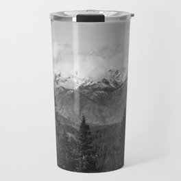 Snow Capped Sierras - Black and White Nature Photography Travel Mug