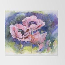 Watercolor Poppies Flowers Art Throw Blanket