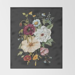 Colorful Wildflower Bouquet on Charcoal Black Throw Blanket