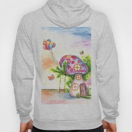 Mushroom House Watercolor Painting Hoody