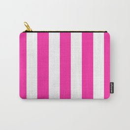 Persian rose pink - solid color - white vertical lines pattern Carry-All Pouch