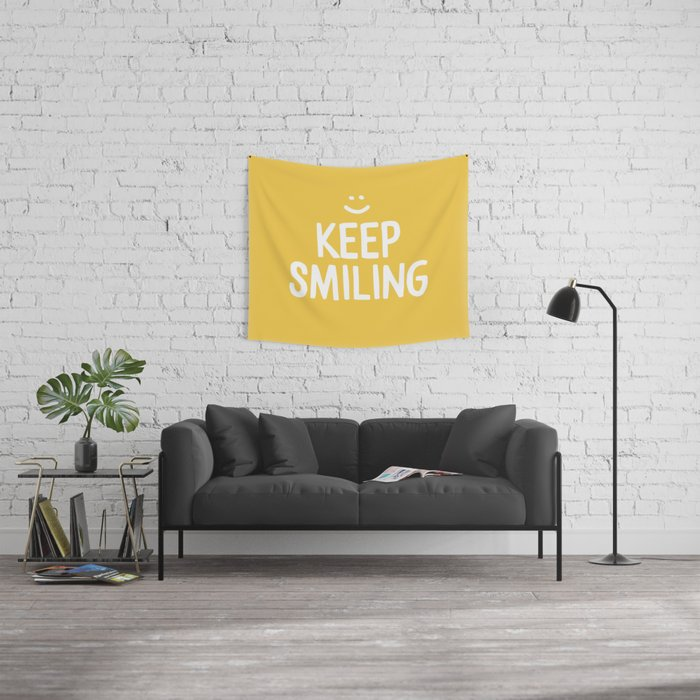 Keep Smiling Quote - Yellow Wall Tapestry