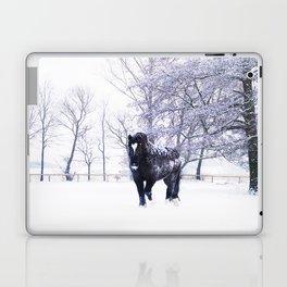 Black beauty horse in winter landscape Laptop & iPad Skin
