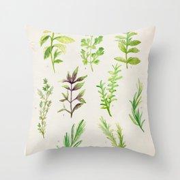 Watercolor Herbs Throw Pillow