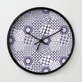 Spanish Tiles of the Alhambra - Violets Wall Clock